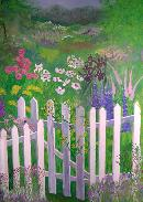 mural of garden with fence