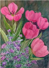 Pink tulips surrounded by purple flowers in this floral watercolor