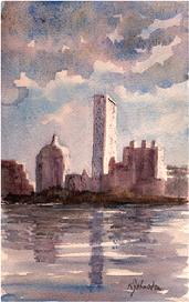 Watercolor painting of Boston skyline at sunrise, from Cambridge