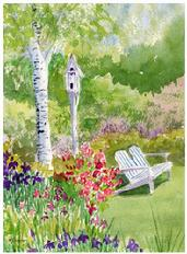 Watercolor painting of a garden with birdhouse and adirondack chair