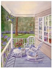 Watercolor of wicker chairs on a porch in shades of blue and white