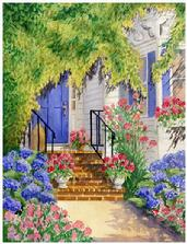 Watercolor painting of blue hydrangeas and pink roses as an entrance to a blue doored house