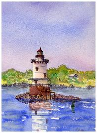 watercolor painting of Conimicut Light house in RI