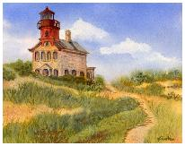 Watercolor painting of Block Island North Lighthouse